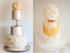 Pomander wedding cakes by Yummy Cupcakes & Cakes left and It's a Cake Thing by Jhoanee right