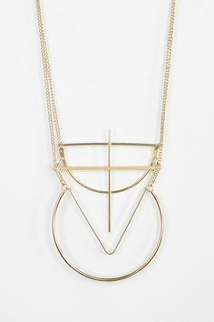 Long double-chain necklace trimmed with an assortment of oversized geo pendants. Aztec Jewelry, Geometric Jewelry, Metal Jewelry, Diamond Are A Girls Best Friend, Urban Outfitters, Arrow Necklace, Jewelery, Jewelry Design, Fashion Jewelry