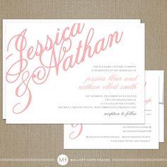 Elegant Names Modern Wedding Invitation, RSVP & Envelope Set (4 Pieces) - CUSTOMIZE Colors and Content - 100 Sets. $345.00, via Etsy.