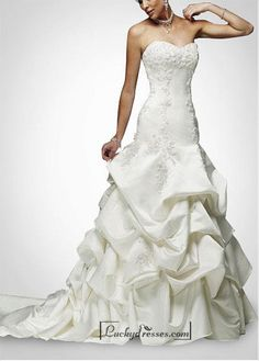Beautiful Elegant Satin A-line Strapless Wedding Dress In Great Handwork Sale On LuckyDresses.com With Top Quality And Discount