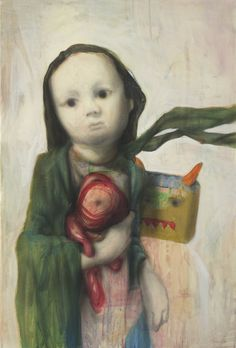 """Saatchi Online Artist: Jun Ho Cho; """"sister""""  I don't """"love"""" this, but it is compelling ..."""