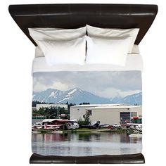 Lake Hood, Alaska, and mountains King Duvet on CafePress.com