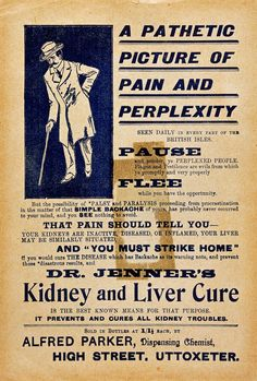 Middle class men might live, on average, to 45.  The average lives of workmen and labourers spanned just half that time. Children were lucky to survive their fifth birthdays. (The current life expectancy is around 80, and rising.) Image: A 'Pathetic picture of pain and perplexity', advertisement, 1850