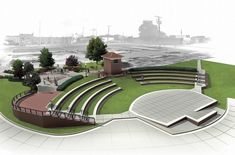 The now cleaned-up riverfront along Water Street in Mount Vernon, Ind., will get even prettier once an amphitheater and six new condos, 46 senior housing units and retail space are added to the area in the near future. School Architecture, Landscape Architecture, Architecture Design, Urban Landscape, Landscape Design, Amphitheater Architecture, Parque Linear, Urban Design Concept, Open Air Theater
