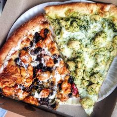 Wishing we were back snackin' on these mix-and-match slices: Burrito pizza (rice, chipotle chicken, beans, cheese, salsa, and sour cream) & pesto chicken pizza