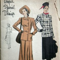 Vintage Womens Suit Pattern With Side Button by kalliedesigns