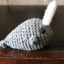 READY TO SHIP!   This little Narwhal is small enough to fit in the palm of your hand. He's made of worsted weight yarn and has 9mm safety eyes.  These little guys are done in Heather Grey and white. Please contact me if you would like to custom order Your Narwhal to be a different color!  p...