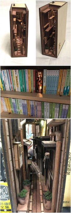 Mini street scene in bookcase - Pin Coffee Love this. Mini street scene in bookcase -<br> Love this. Mini street scene in bookcase Love this. Mini street scene in bookcase Cool Bookshelves, Book Shelves, Diy Bookcases, Bookshelf Styling, Book Nooks, Reading Nooks, Creations, Arts And Crafts, Easy Crafts