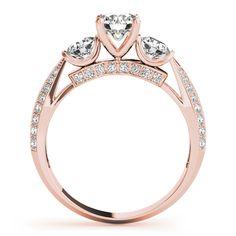 Engagement Ring -Three Stone Knife Edge Diamond Bridal Set in Rose Gold-ES1811RGBS