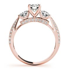 Engagement Ring -Three Stone Knife Edge Diamond Bridal Set in Rose Gold-ES1811RGBS