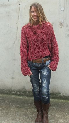 Suéter grueso rosa Redish arenero / grueso suéter por ileaiye