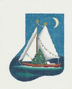Melissa Shirley Classic Christmas Sailboat Sock Handpainted Needlepoint Canvas | eBay  $75