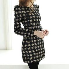 Buy 'Dowisi � Long-Sleeve Pattern Dress' with Free International Shipping at YesStyle.com. Browse and shop for thousands of Asian fashion items from China and more!