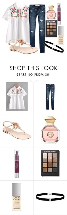 """""""cute white shirt"""" by pinkerie ❤ liked on Polyvore featuring Abercrombie & Fitch, Marc Fisher, Tory Burch, Neutrogena, Sonia Kashuk, Givenchy and Amanda Rose Collection"""