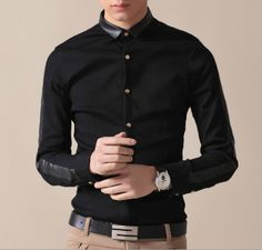 Men's Shirt with Faux Leather Collar