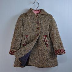 1950s / 50s little GIRLS wool tweed COAT, $52