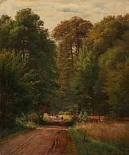 A. Andersen-Lundby: A shepherd with cows on a road through the forest. Signed and dated A. Andersen 1874. Oil on canvas. 46 x 39 cm.