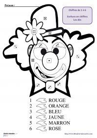 Coloriage magique de clown 9 coloriages magiques de clowns pour travailler le dénombrement de collections et la représentation des chiffres à l'aide des dés.