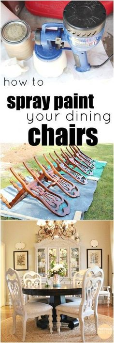 To Spray Paint Dining Chairs YES! you can use chalk based paint in a sprayer - Spray Paint Furniture Makeover and Blanche Paint CompanyYES! you can use chalk based paint in a sprayer - Spray Paint Furniture Makeover and Blanche Paint Company Old Furniture, Paint Furniture, Repurposed Furniture, Furniture Projects, Furniture Makeover, Diy Projects, Project Ideas, Furniture Refinishing, Decoupage Furniture