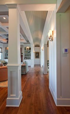 love adding interest to that fifth wall, and these ceilings are phenomenal! That barrel in the hall adds loads of height and the coffered ceiling in the living room complements the built-ins Barrel Ceiling, Interior Columns, Built Ins, Home Renovation, My Dream Home, Great Rooms, Living Spaces, Living Room, Family Room