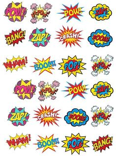 24 Stand Up Premium Edible Wafer Paper Superhero Retro Pow Zap Comic Book Style Cake Toppers Decorations Mais Wafer Paper Cake, Paper Cupcake, Batman Party, Superhero Birthday Party, Comic Book Style, Comic Books, Zap Comics, Festa Pj Masks, Wonder Woman Party