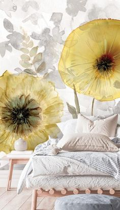 Stay on-trend in 2021 with trending interior decor for your home. Using 2021's Pantone colours of the year, you can create the ultimate bright and airy bedroom. Illuminating yellow is an uplifting choice, perfect for boosting your mood. Ultimate gray is a timeless choice that will last for years and match a number of different colour schemes! Pair with a light wooden Scandi style bed and white bedding with pastel accents for a fresh and bright feel. Shop the look at Wallsauce.com… Airy Bedroom, Bedroom Wallpaper, Gold Walls, Scandi Style, Bed Styling, White Bedding, Color Of The Year, Beautiful Bedrooms, Pantone Color