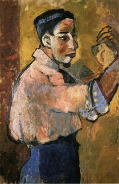 Young Man with a Goatee by Natalia Goncharova   Size: 100x65 cm Medium: oil on canvas