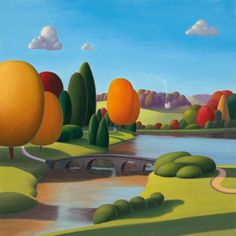 """Paul Corfield ~  Autumn Splendor ~ """"This painting is based on a view at Stourhead Gardens on the Dorset/Wiltshire border. The gardens were planted in around 1740 and were inspired by great landscape art from the 17th century. The colours in autumn are a real treat and are what I've tried to capture in this painting. I've changed a few things compared to the actual scene in real life just to make a more interesting composition."""""""