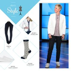 Ellen's Look of the Day: white blazer, red plaid button up, jeans, Ellen socks, white shoes