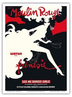 20€ Bal du Moulin Rouge - Paris, France - Watusi Dans Frénésie - Les 40 Doriss Girls - Moulin Rouge Cabaret - Vintage Theater Poster by René Gruau c.1970 - Reproduction Professionelle d'art Master Art Print - 23cm X 31cm: Amazon.fr: Cuisine & Maison