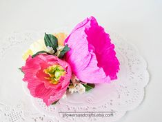 THIS IS LISTING FOR 1 ARRANGEMENT  FOR PAPER COLOR CHART, PLEASE CONTACT ME.  *** IF YOU WOULD LIKE TO PURCHASE MORE OF THESE FLOWERS OR THESE FLOWERS WITH OTHER KINDS ,PLEASE CONTACT ME TO HAVE COMBINED SHIPPING WHICH IS CHEAPER ***  These flowers is made with carefullness and meticulosity. They would be perfect for bouquets for brides, bridesmaid, wedding backdrop, wedding decoration, house decoration or any kind of decoration.  It is made of Premium Quality Crepe Paper with beautiful…