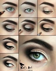 Tutorial on how to shape your eyes using black eye shadow.