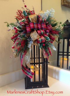 Christmas Lantern Swag/ holiday decoration/ by MarlenesCraftShop