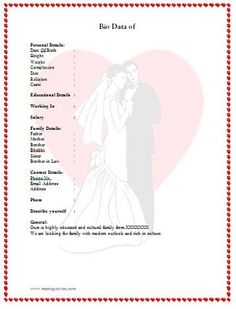 Biodata For Marriage Heart Format From: Http://www.marriageextra.com