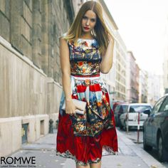 ROMWE Baroque Red Sleeveless Maxi Dress
