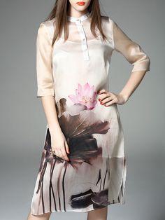 Printed Silk #Midi #Dress