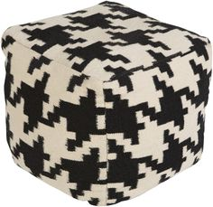 A perennial favorite in the world of fashion, classic hounds tooth pattern is revamped once again in this cozy wool pouf (POUF-173).