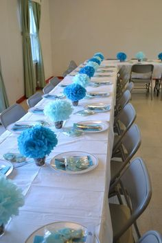 My baby shower! Love the blue table decor for a large party