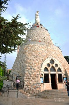 Our Lady of Lebanon, Harissa Lebanon. A 19th century, 15-ton bronze, painted white, and inaugurated in 1908. A chapel is located in the base of the statue. The site was visited by Pope John Paul II in 1997 & Pope Benedict XV in 2012.