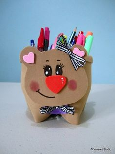 Upcycle (recycle) plastic bottles and turn it into a pencil cup, like I did with this teddy bear Plastic Bottle Flowers, Plastic Bottle Crafts, Recycle Plastic Bottles, Animal Crafts For Kids, Diy For Kids, Foam Crafts, Diy And Crafts, Box Frame Art, Bottle Jewelry