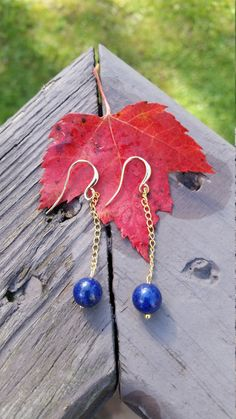 Jewelry Lapis Lazuli beads dangle earrings by tipatmazal on Etsy