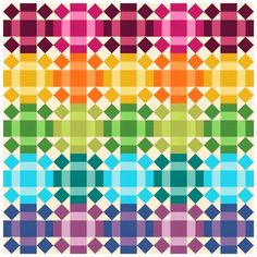 """Rolling Rainbow"" quilt pattern designed by Robert Kaufman Fabrics. Features Kona Cotton.  FREE pattern."