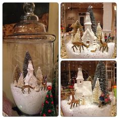 "DIY ""Snow globe"" Christmas apothecary jars"