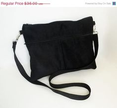 Vegan Suede Clutch Purse - Handmade Black Sling Bag