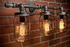 Mason Jar Light - Pipe Light - Vanity Light - Edison Light - Rustic Light - Industrial Light - Wall Light - Wall Sconce - Steampunk Light