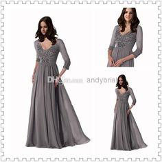 Wholesale Bride Dresses - Buy Top Selling V-Neck 3/4 Sleeve Sexy Mother Of The Bride Dresses Discount Off Chiffon Hot Sell Mother Dresses, $128.99 | DHgate