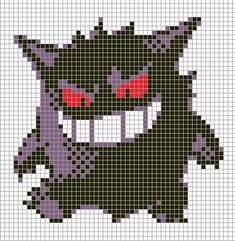 Pokemon from the game Pokemon Silver. Placed in grid format to make it easier for pixel-arters to create on minecraft, in hama form, cross-stitch or other form of non-isometric pixel art. Colour en...