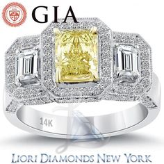 2.74 Carat GIA Certified Natural Fancy Yellow Diamond Engagement Ring 14k Gold - Fancy Color Engagement Rings - Engagement - Lioridiamonds.com