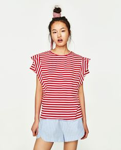 Image 2 of FRILLED SLEEVE T-SHIRT from Zara