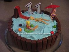 Homemade Pool Party Birthday Cake: This pool party birthday cake was made with a circle pan. First we baked a vanilla cake and then iced it with vanilla frosting dyed blue. Next we added